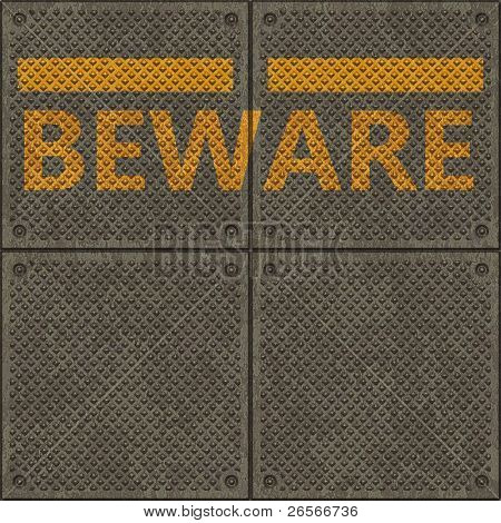 Seamless panel texture with a warning yellow line and the word BEWARE