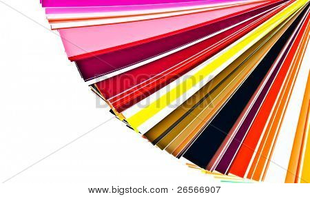 Color selection swatchbook in warm colors isolated on white