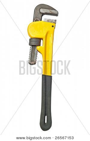 Yellow monkey wrench used for plumbing isolated on a white background with clipping path