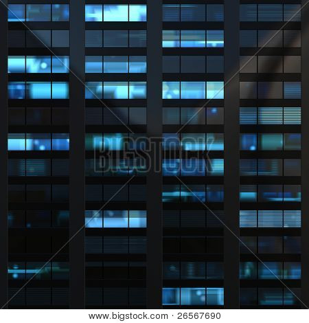 Seamless illustration resembling windows in a modern building illuminated at night. Some of the windows have blinds