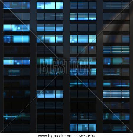 nahtlose Abbildung ähnlich Windows in einem modernen Gebäude in der Nacht beleuchtet. einige des Windes