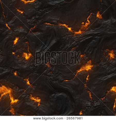 Seamless magma or lava texture with a melting material flowing among hot rocks