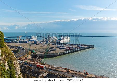 DOVER,UK-MAY 28:Ferries in the port and crossing the Channel May 28,2011 in Dover.This port,just 31 miles away from France,is one of the busiest in Europe with more than 16 million passengers a year