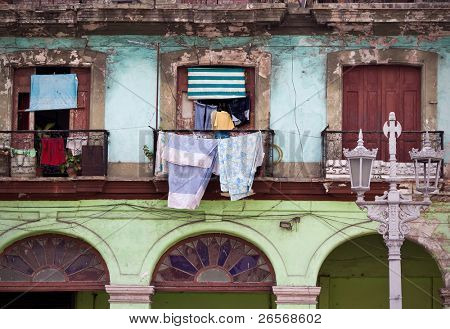 Detail of a colorful dilapidated building in Old Havana