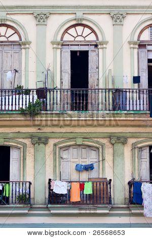 Balconies in an old building in Havana