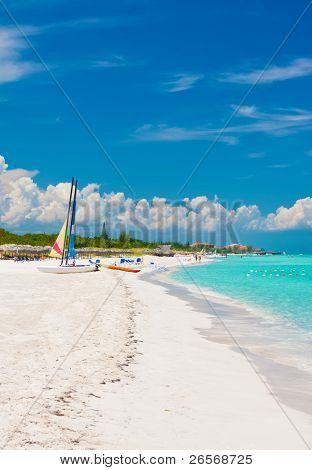 The beautiful cuban beach of Varadero with sailing boats, white sand and cristal clear turquoise water