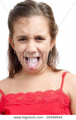 Latin girl with an expression of disgust isolated on a white background