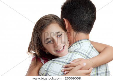 Happy latin girl hugging her father who is not facing the camera isolated on a white background