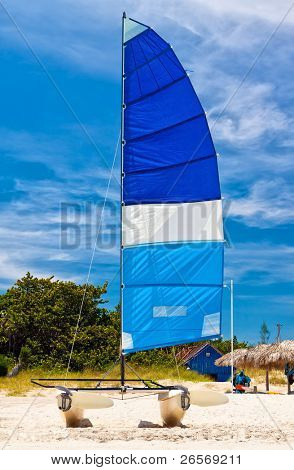 Sailing catamaran in the beautiful beach of Varadero in Cuba