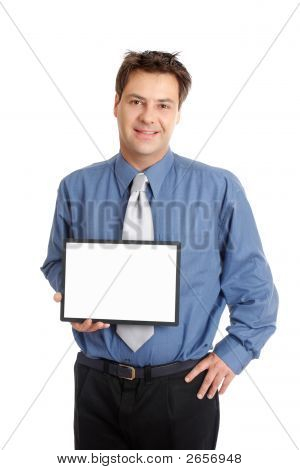 Businessman Or Salesman  Holding Sign