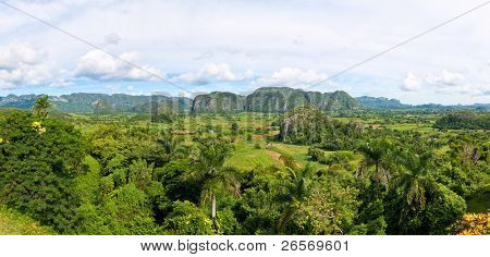 Panoramic view of the Vinales valley in Cuba (30 Megapixels)