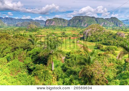 High dynamic range panoramic view The Vinales valley in Cuba