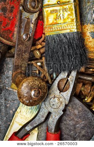 Grunge set of old and dirty manual tools