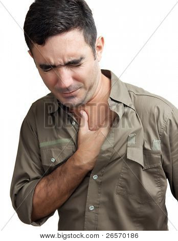 Hispanic man with a chest pain isolated on a white background