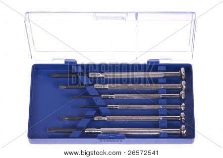 Six precision screwdrivers in blue box isolated on white background