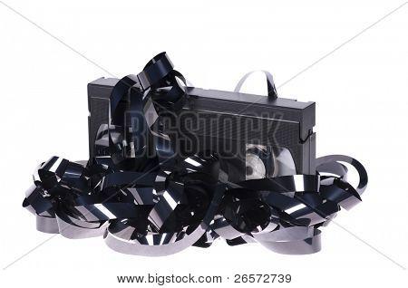 alte unbrauchbar Vhs Videokassette isoliert auf weißem Hintergrund