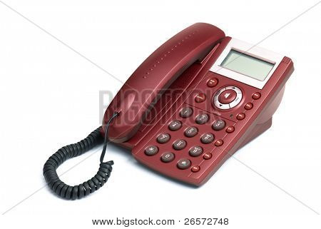 Digital red phone isolated on white background