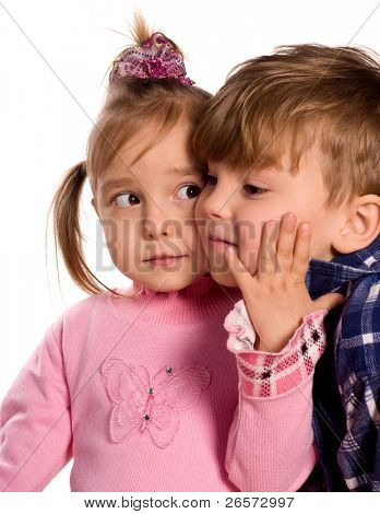Portrait of emotionally kids. Beautiful caucasian models isolated on white background.