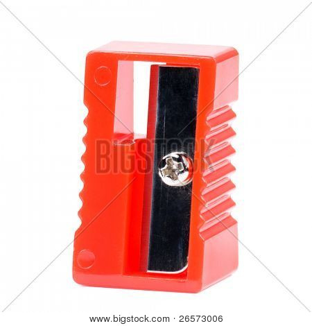 New red sharpener. Isolated on white background.