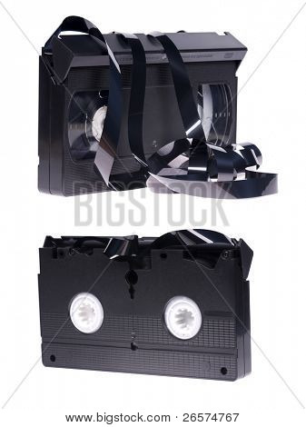 Old unusable vhs video cassette isolated on white background