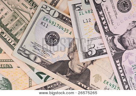 Money background of $5-$20 banknotes
