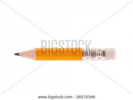 Close-up image of small pencil isolated on white background