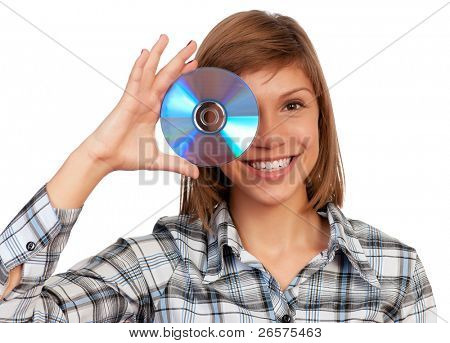 Portrait of a emotional beautiful teenage girl with disc. Isolated on white background.