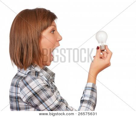 Portrait of a beautiful teenage girl with bulb. Isolated on white background.
