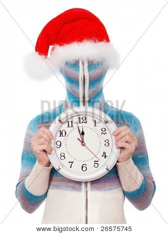 Portrait of a girl in cardigan with a hood with no face. Santa with clock