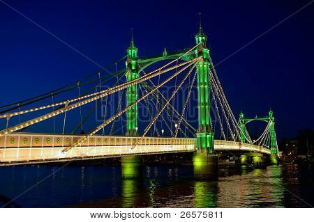 Albert Bridge, Over The River Thames, London, England, Uk, Illuminated At Night