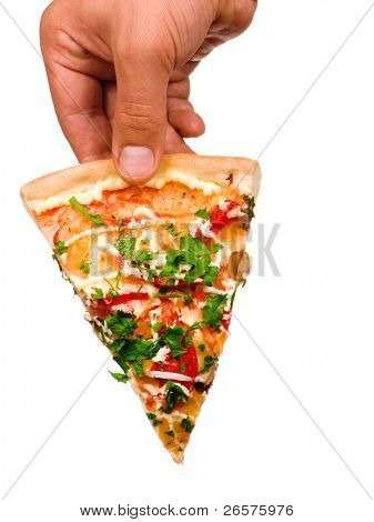 Hand holding cut off slice pizza isolated on white background