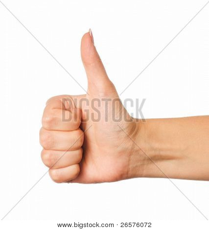 Woman hand making sign GOOD. Isolated on white background