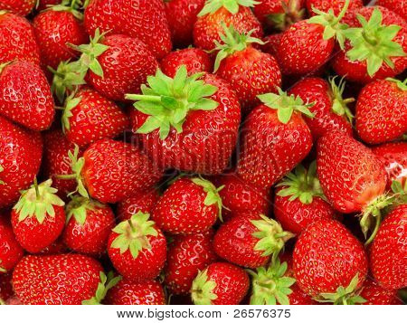 Food Frame Background - Fresh ripe perfect strawberries