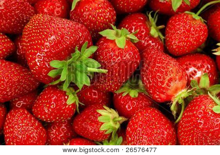Food Frame Background - Fresh ripe perfect strawberries