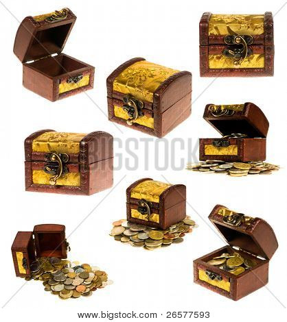 Wooden treasure chest of money over white background