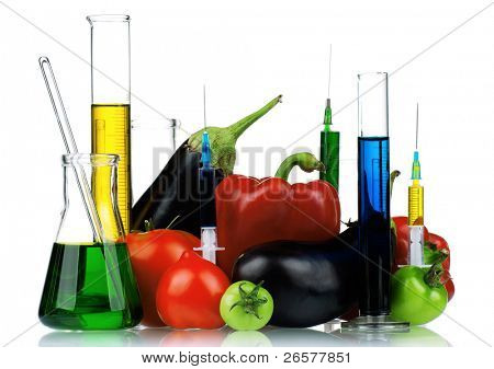 Genetically modified organism - vegetables with syringes and laboratory glassware on white background