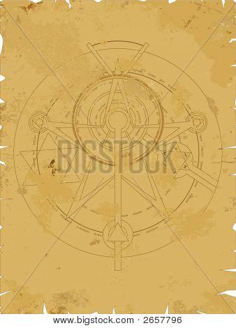 Old Scroll With Alchemy Pentagram