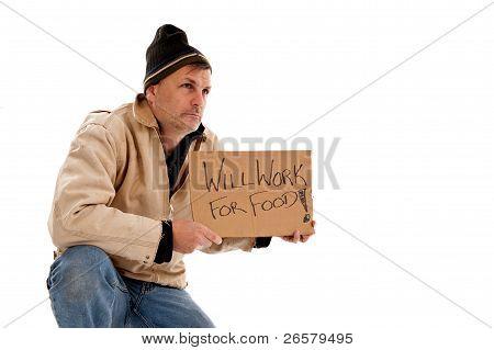 Homeless Hungry Man