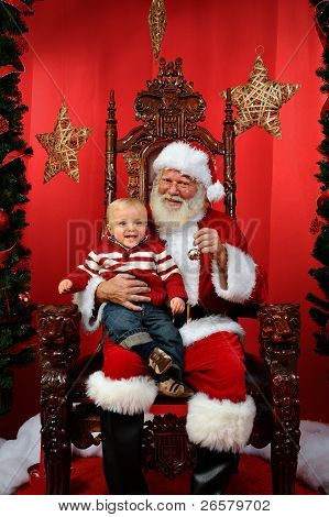Baby Sitting On Santa's Lap