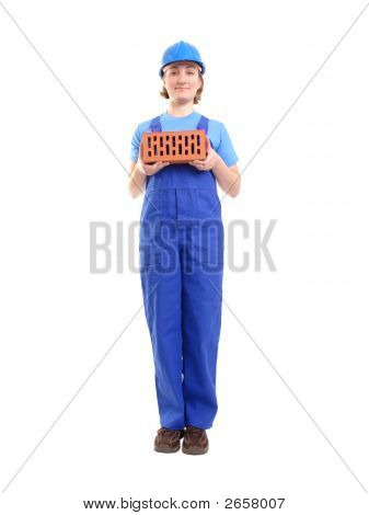 Female Builder With Brick