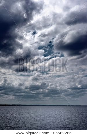 Storm clouds over horizon