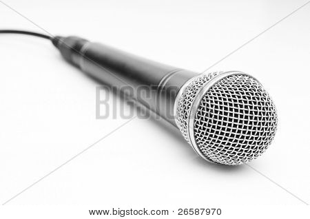 Microphone over light gray background