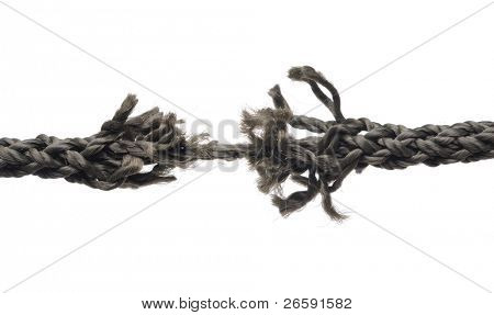 Breaking rope. Isolated over white.