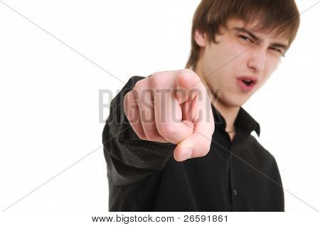 Young man with disgust face. Isolated over white.