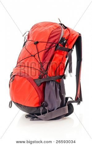 Red backpack, isolated over white.