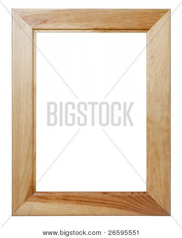 Wooden frame. Isolated over white.