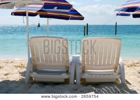 Beach Chairs With Umbrellas 2