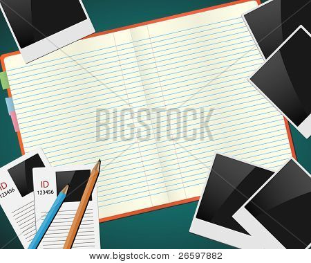 Sketchbook with photos, ids and pencils. Vector concept