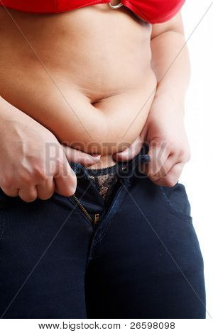 Fat woman isolated over white