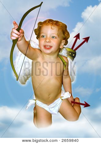Cupid Pointing With Sky Background